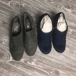 Women Size 7 AEROSOLES Booties w/Zippers (2 Pairs)